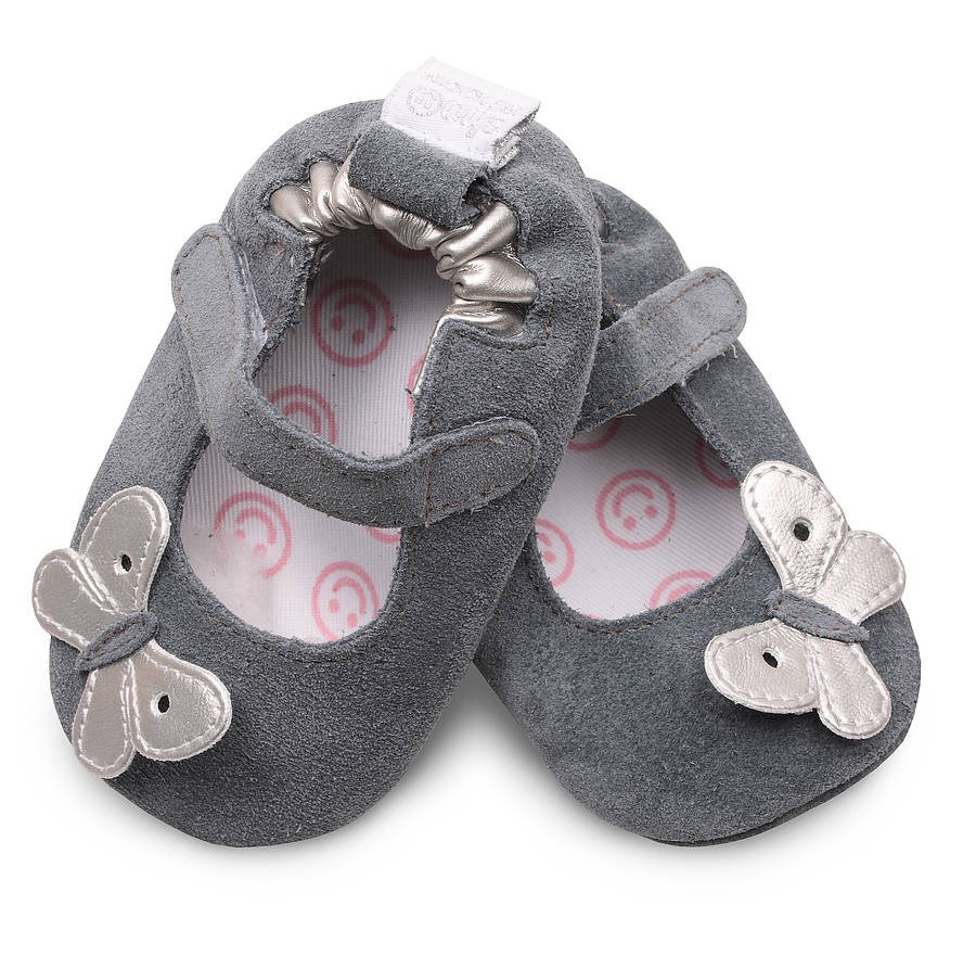 Hippychick Shoo Shoos - Grey/Silver Butterfly
