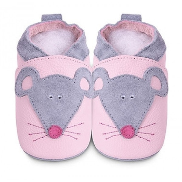 hippychick Shoo Shoos - Pink/Grey Mouse