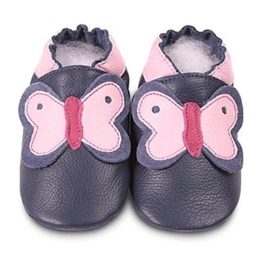Hippychick Shoo Shoos - Navy/Pink Butterfly