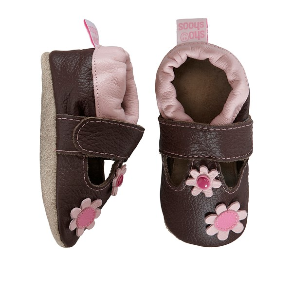 Hippychick Shoo Shoos - Brown T-bar/Pink Flowers