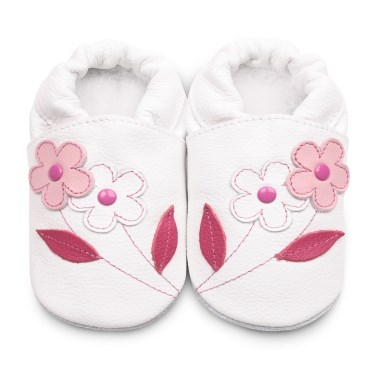 Hippychick Shoo Shoos - White/Pink Flowers