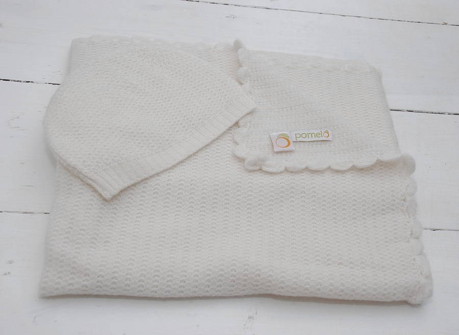 Vintage Knit Cashmere Baby Blanket and Hat Set