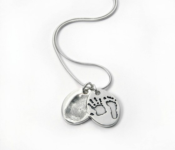 Fingerprint and Hand/Foot Print Oval Double Pendant