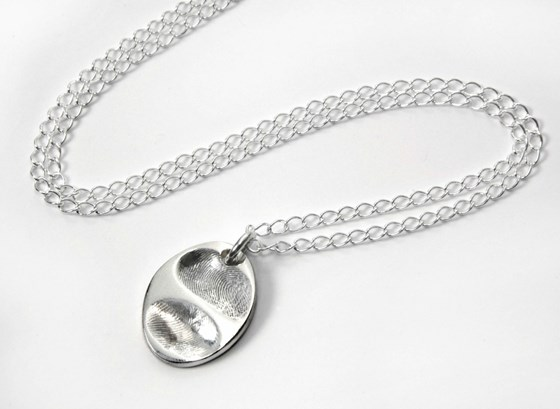 Double Fingerprint Oval Pendant
