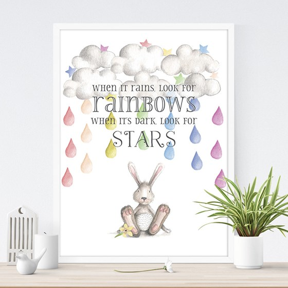 WHEN IT RAINS LOOK FOR RAINBOWS PRINT