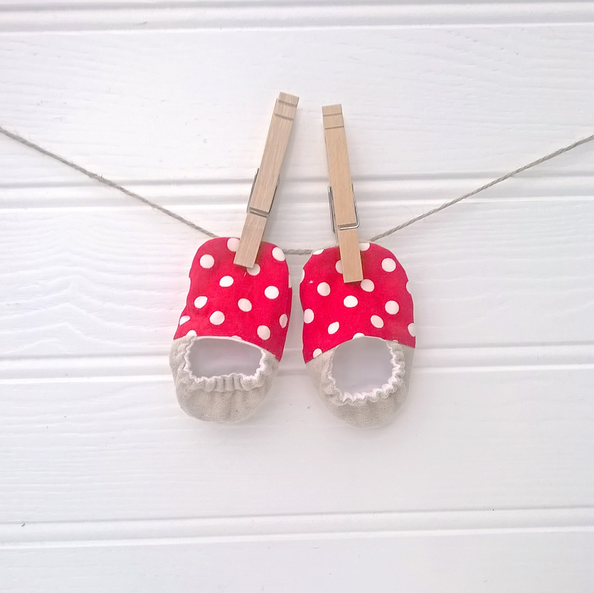 Spotty Red Soft Soled Baby Shoes