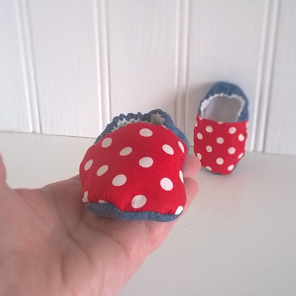 Denim and Red Spot Baby Shoes