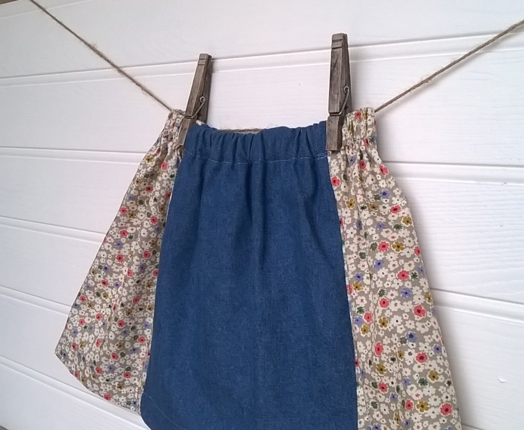 Madelaine Skirt in Soft Denim With Floral Panels