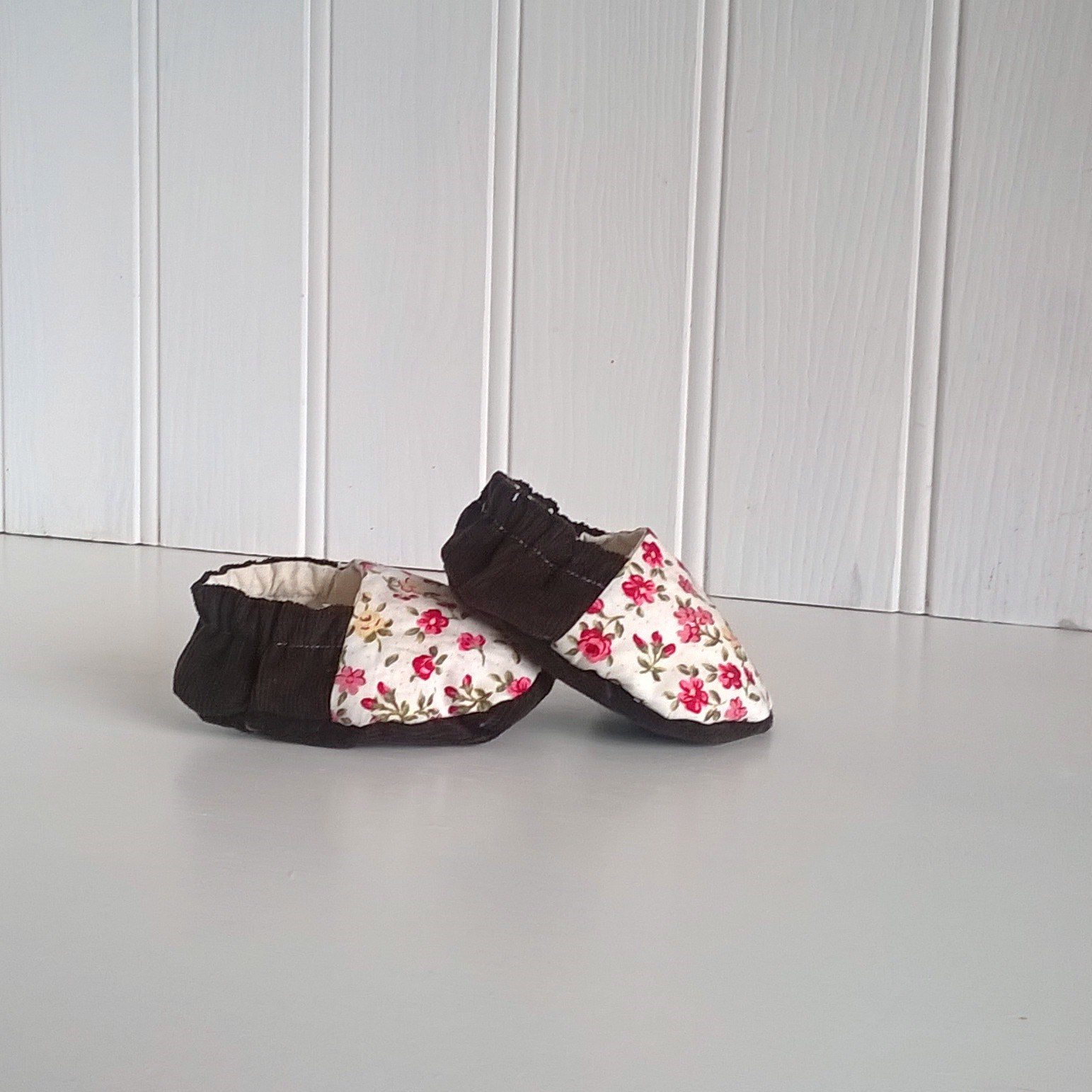 Country Garden Flowers and Corduroy Baby Shoes