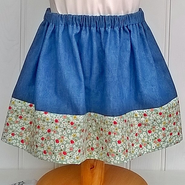 Isabelle Skirt in Denim with Green Floral Trim