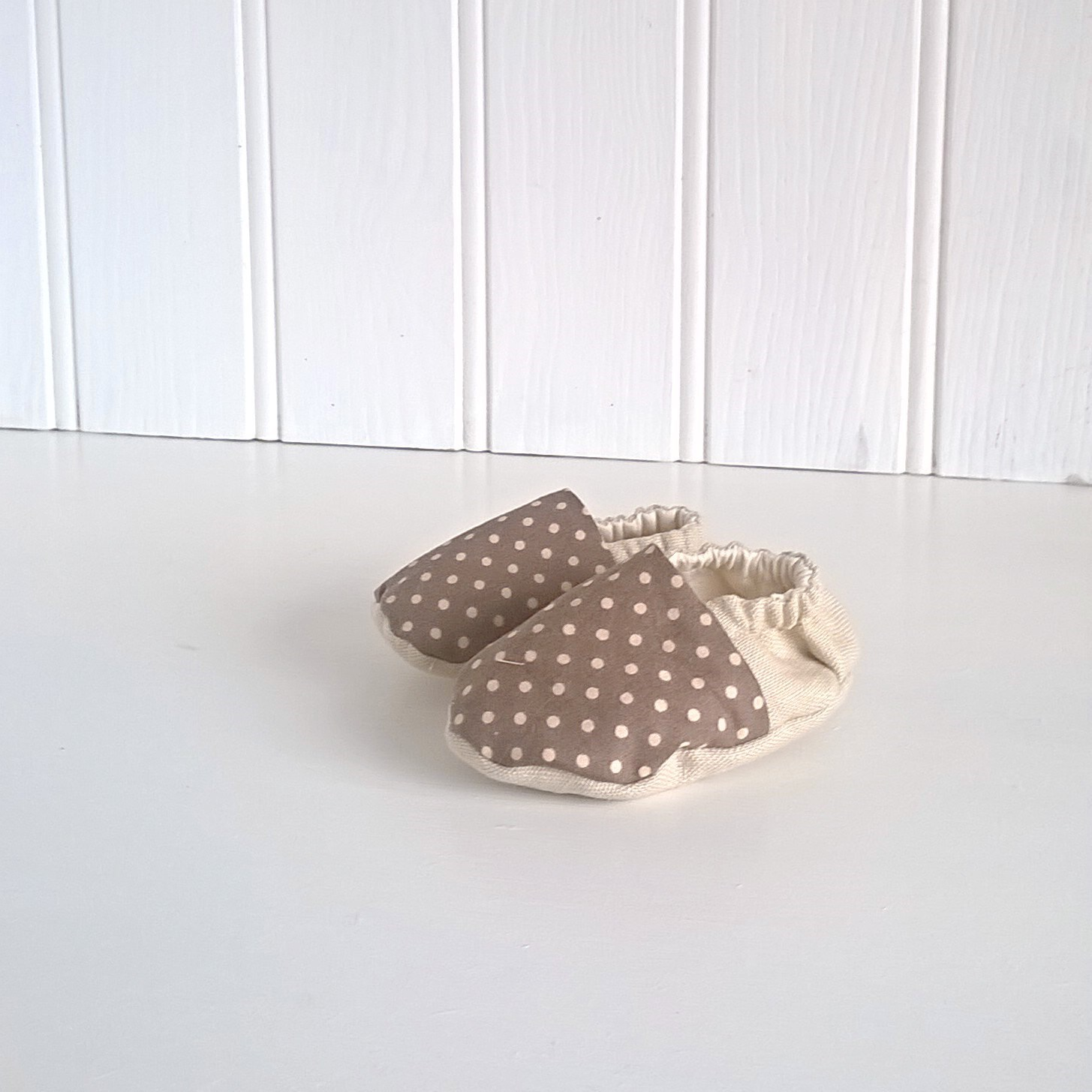 Cream and Brown Spot Soft Soled Baby Shoes