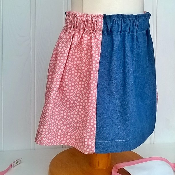 Madelaine Skirt in Denim with Pink Feature Side Panels