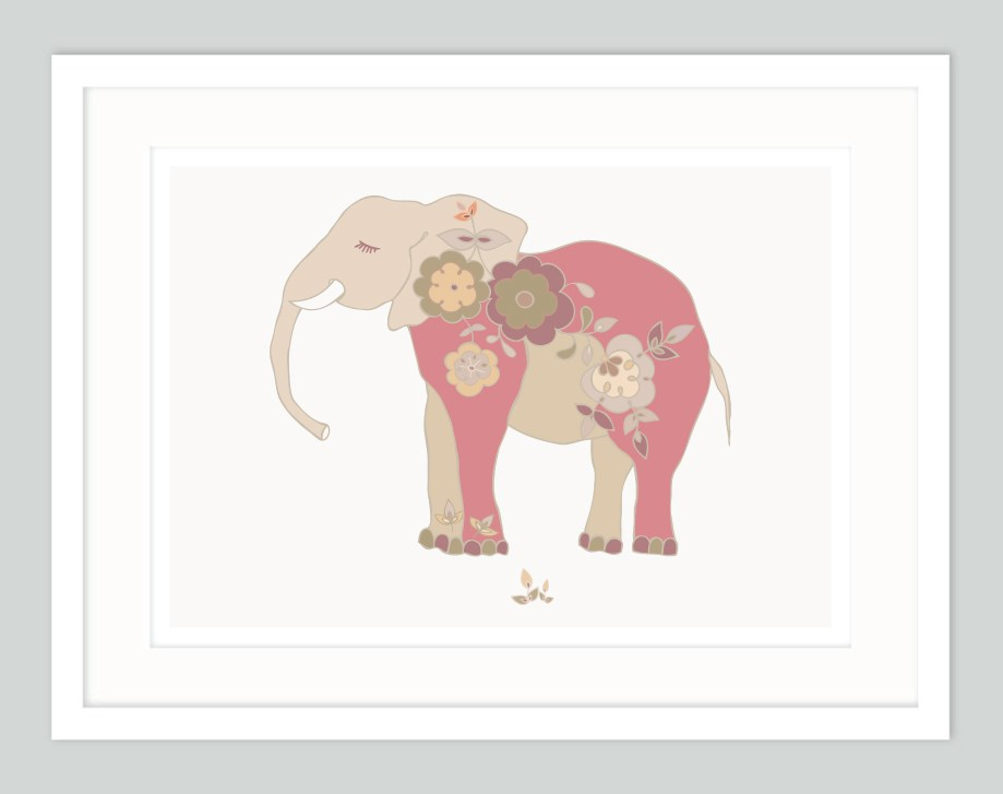 Sleeping Baby Elephant Nursery Art