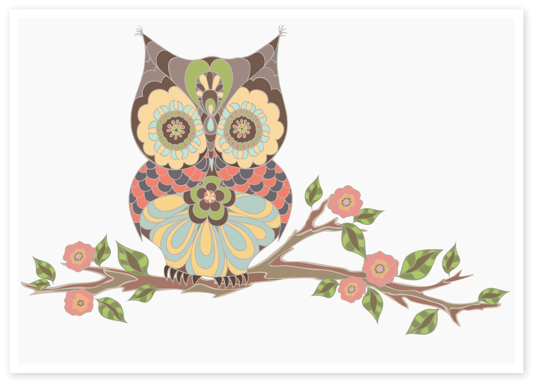 Owl Sitting On Branch |Wisdom Owl | Nursery Art
