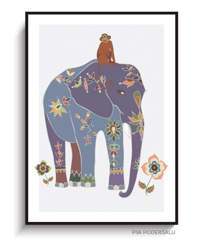 Indian Elephant with Monkey Nursery Art