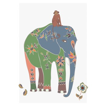 Indian Elephant with a Moneky Friend art print
