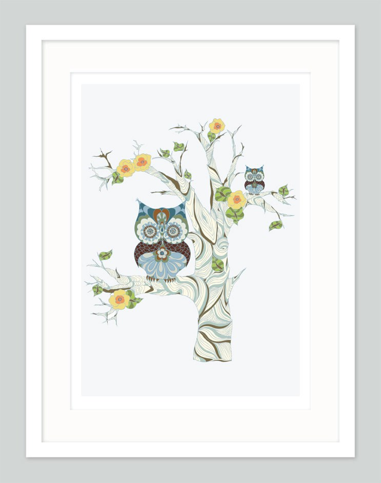 Owl Twins Kid's Wall Art | Unisex Nursery Art | Brothers