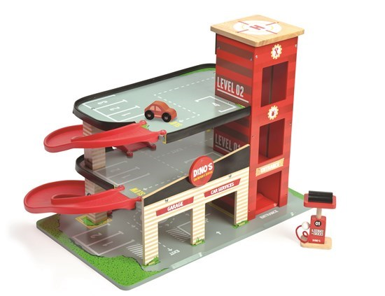 Wooden Toy Car Garage : Red dino garage wooden toy by le van loubilou