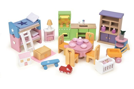 Starter Furniture Set - Wooden Dolls House Furniture Collection by Le Toy Van