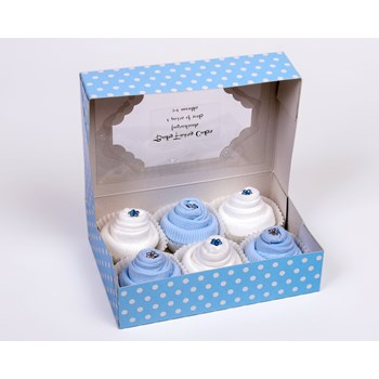 Gift Box of 6 Baby Socks Cupcakes for a Baby Boy