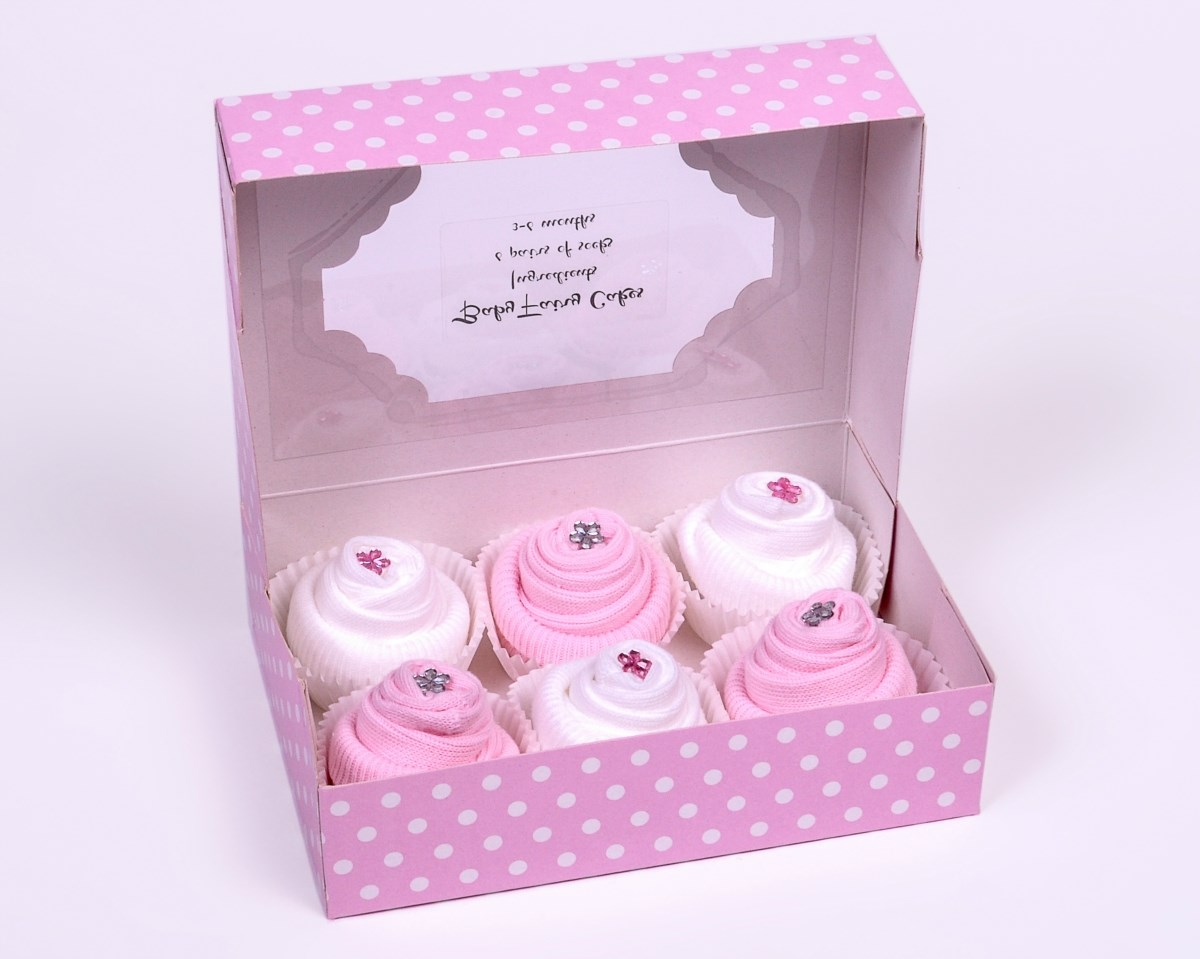 Gift Box of 6 Baby Socks Cupcakes for a Baby Girl
