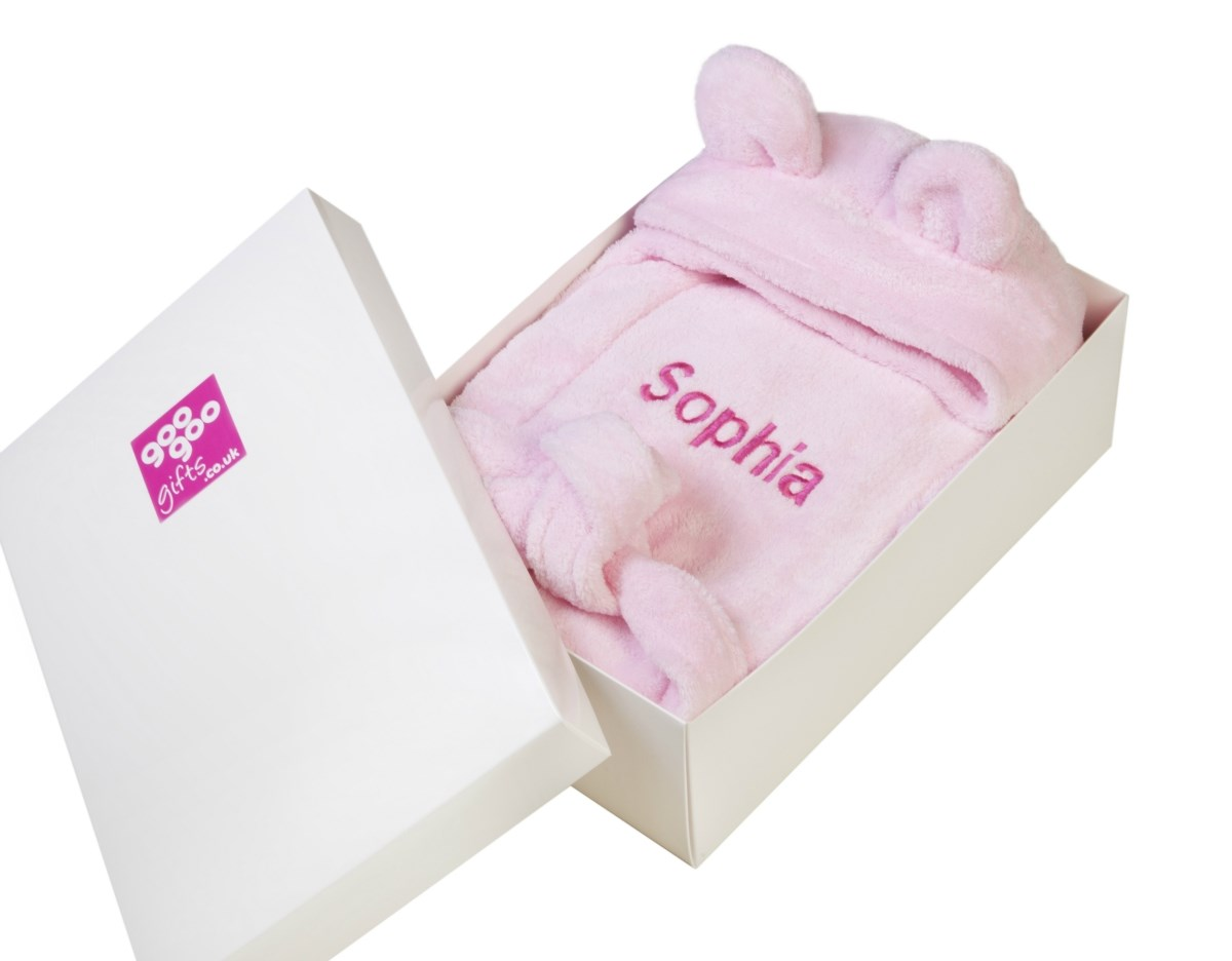 Personalised Luxury Bathrobe for a Baby Girl in a Gift Box