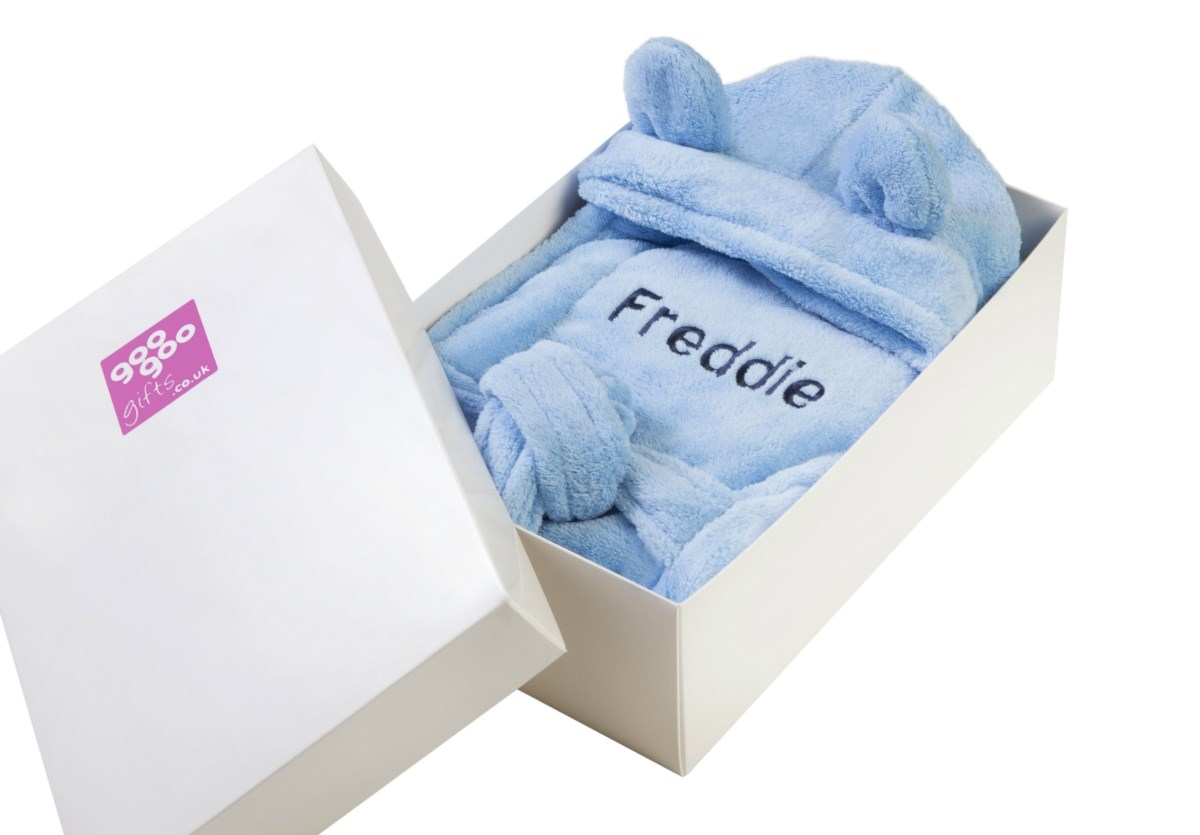 Personalised Luxury Bathrobe for a Baby Boy in a Gift Box