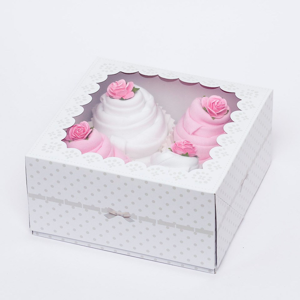 Luxury Gift Box of 4 Handmade Bodysuit Cupcakes For A Baby Girl