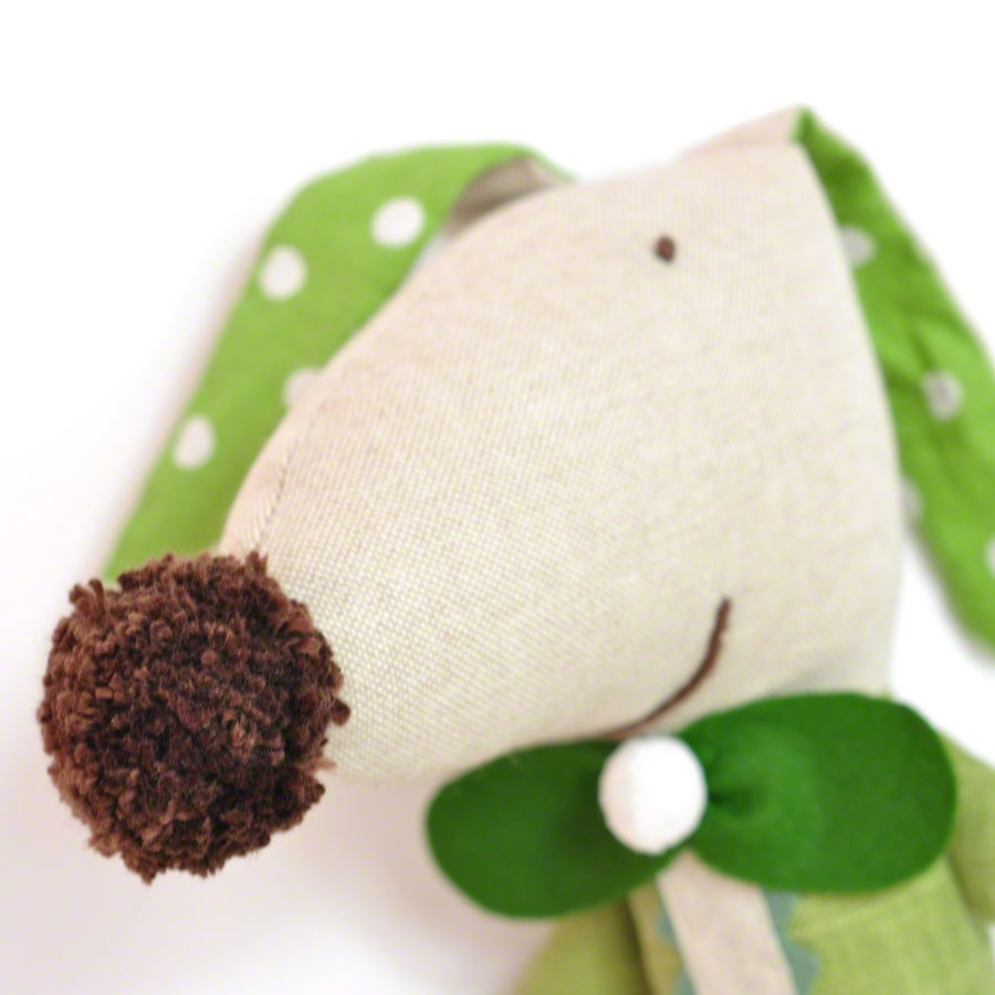 soft toy dog Ernesto * green with stripes and loop