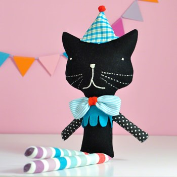 soft toy cat Reinaldo * black with blue hat