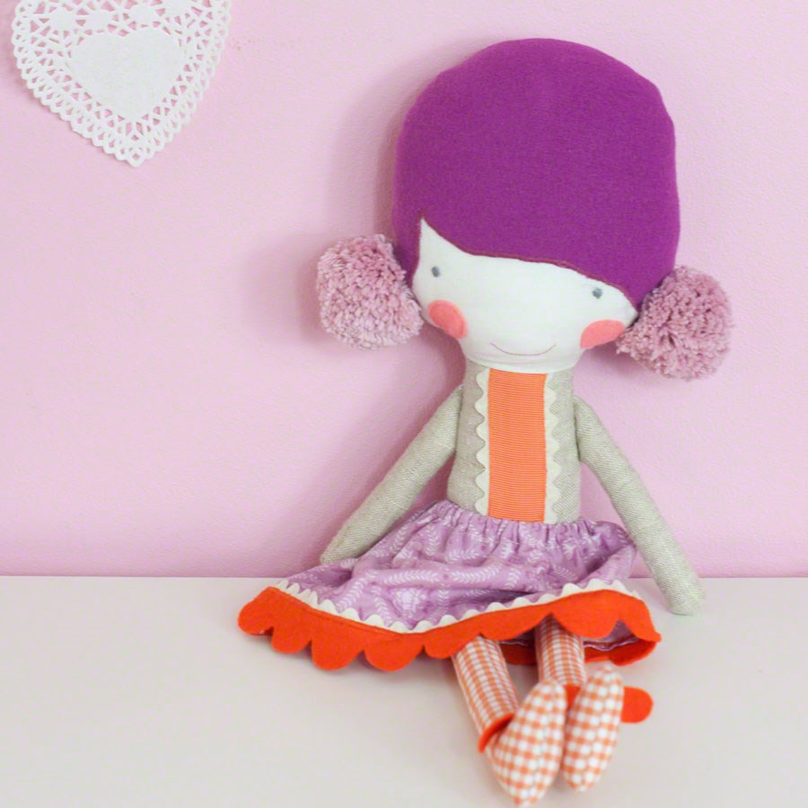 rag doll Elvira * lilac hair with pompons & lilac skirt