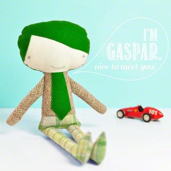 little boy doll Gaspar * green hair & tie