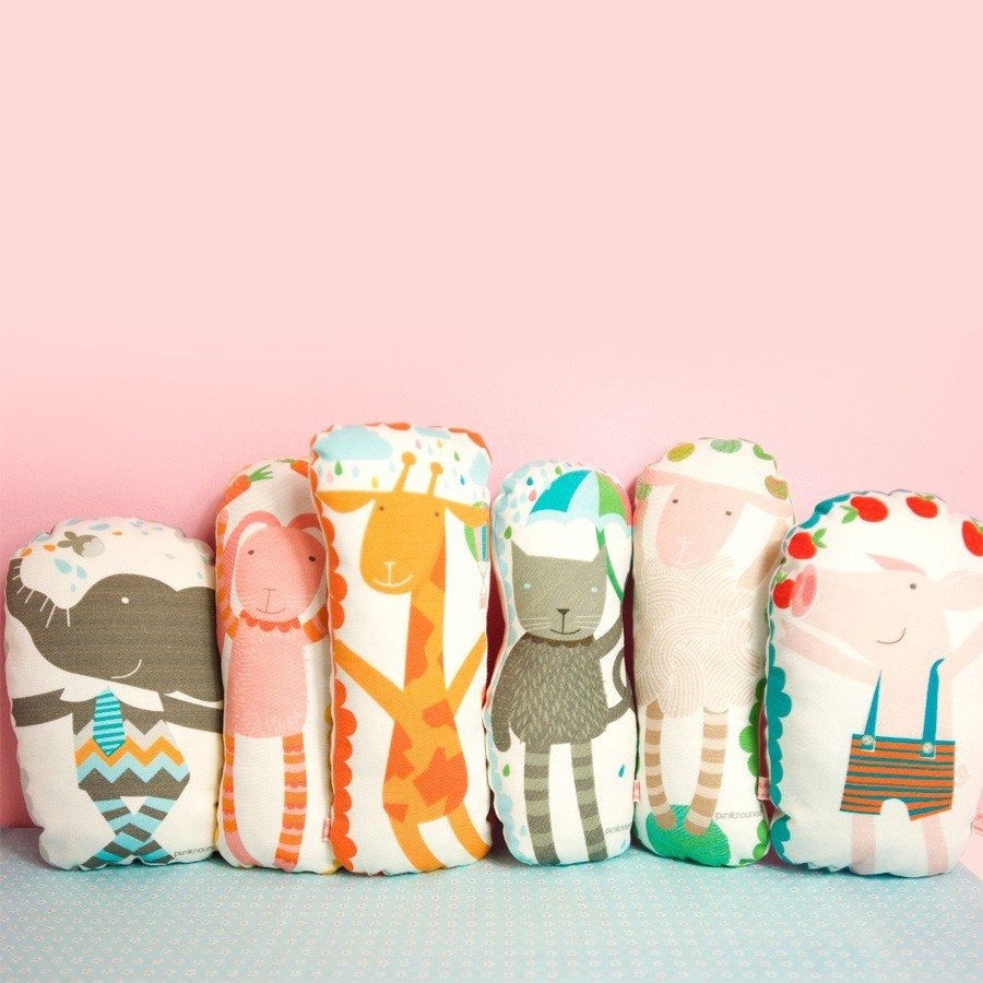 animal softie pillow for nursery room