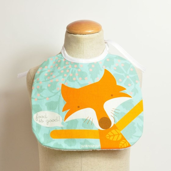 baby bib with fox in high quality cotton fabric with impermeable fabric on reverse