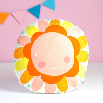 "decorative pillow ""happy flower"" for baby nursery room in orange, pink and yellow"