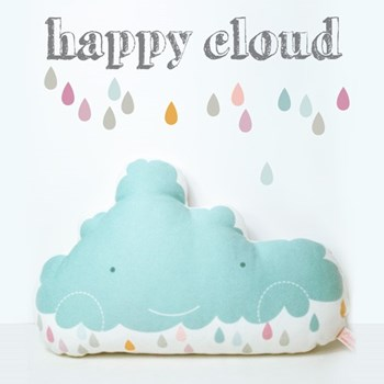 "decorative pillow ""happy cloud"" for nursery room in light blue"