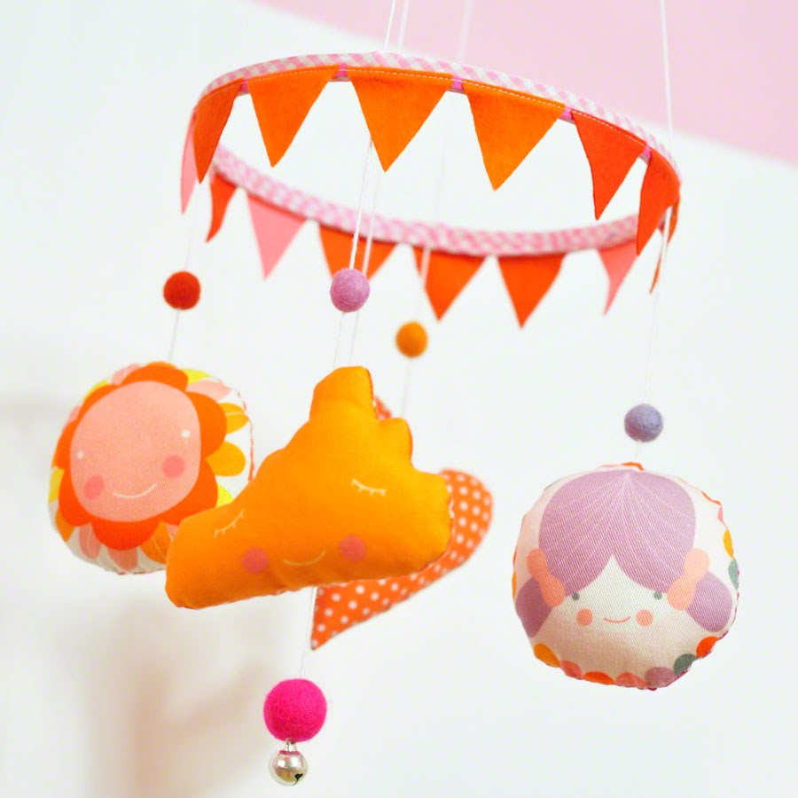 baby girl mobile for nursery room - with cloud, flower, girl and heart in orange, lilac and pink