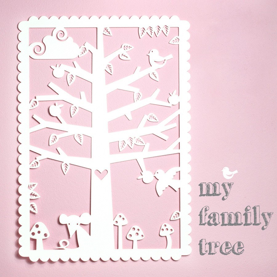 paper cutout poster for nursery room - family tree
