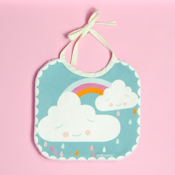 "baby bib ""happy cloud"" in high quality cotton fabric with impermeable fabric on reverse"