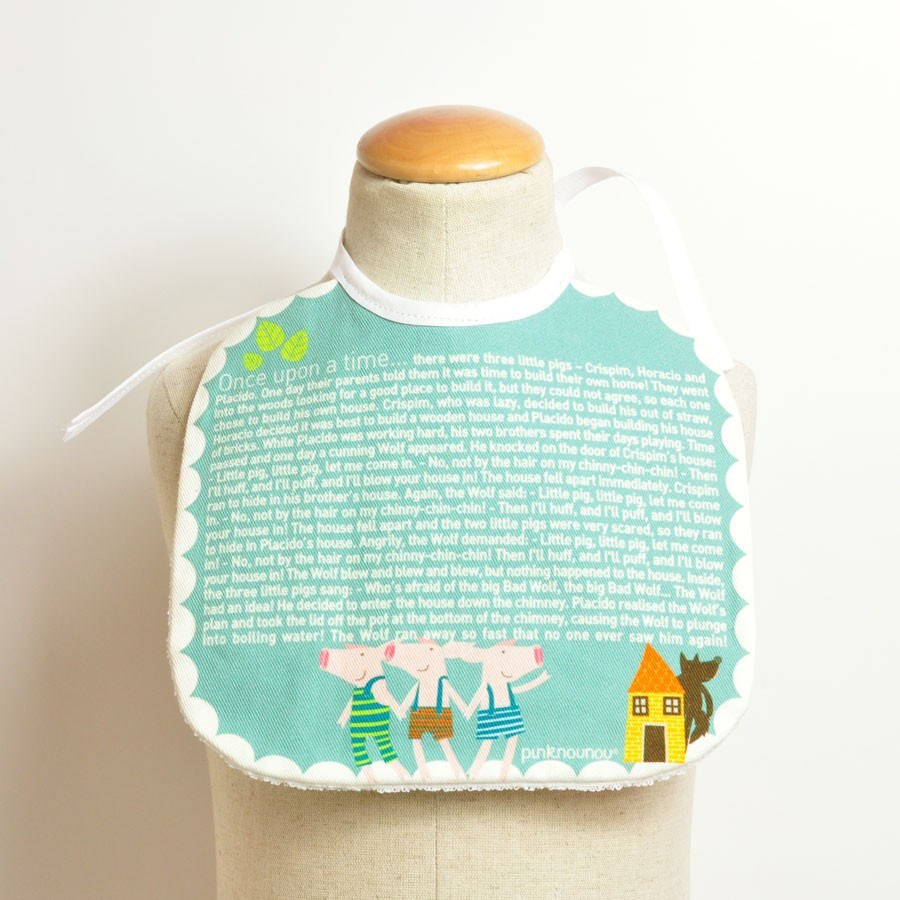 baby bib Once Upon a Time... Three Little Pigs tale