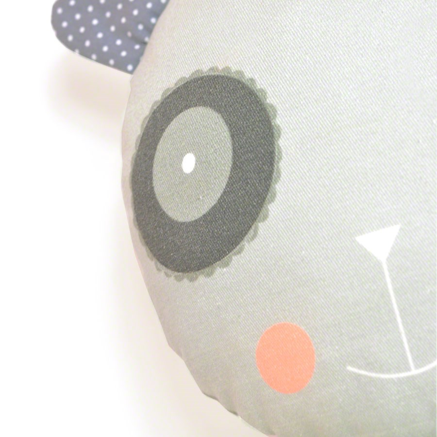 "decorative pillow ""happy panda"" for baby nursery room in gray"