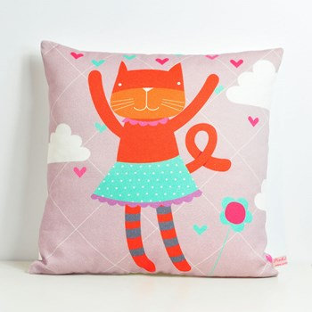 decorative throw pillow for kids room with orange cat