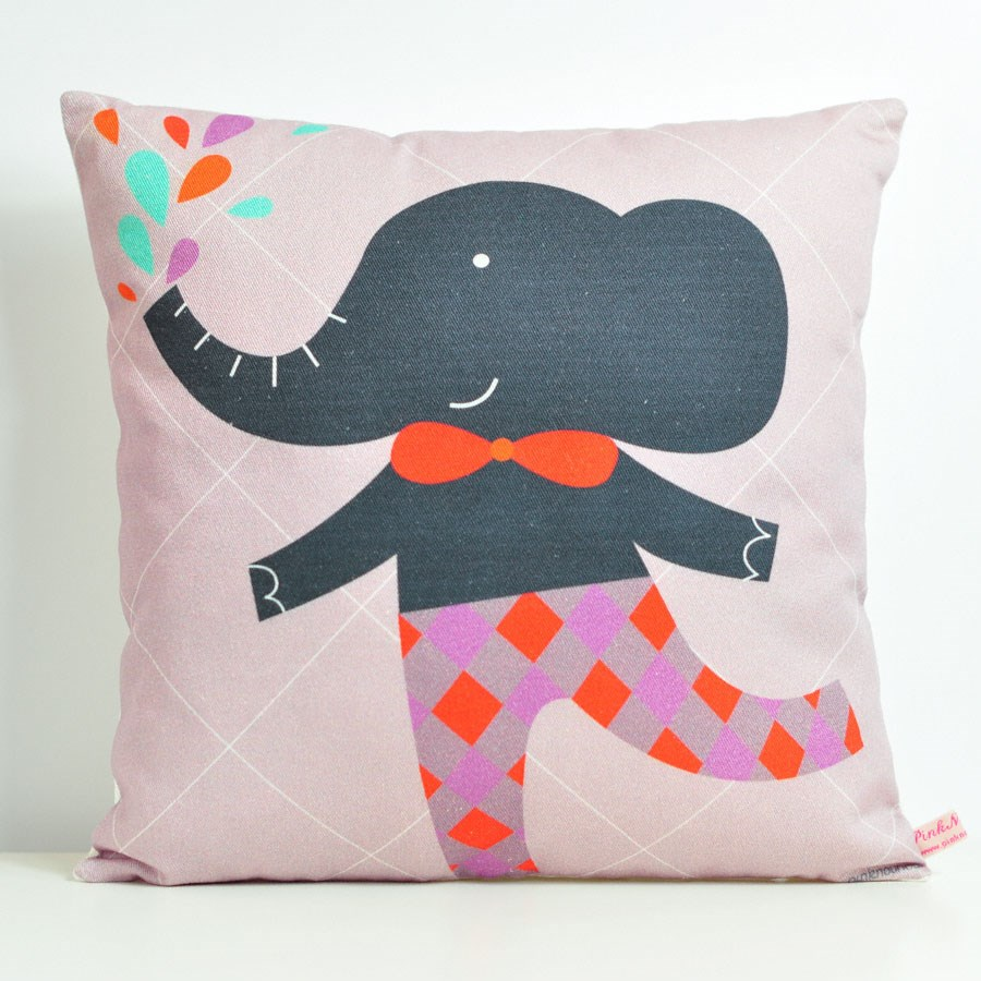 decorative throw pillow for kids room with gray elephant
