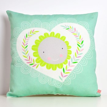 decorative throw pillow for kids room with heart and flower