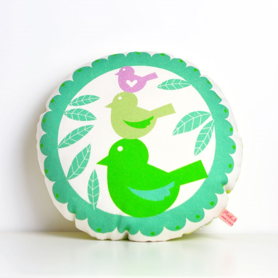 "decorative pillow ""tweet, tweet"" for baby nursery room in mint"