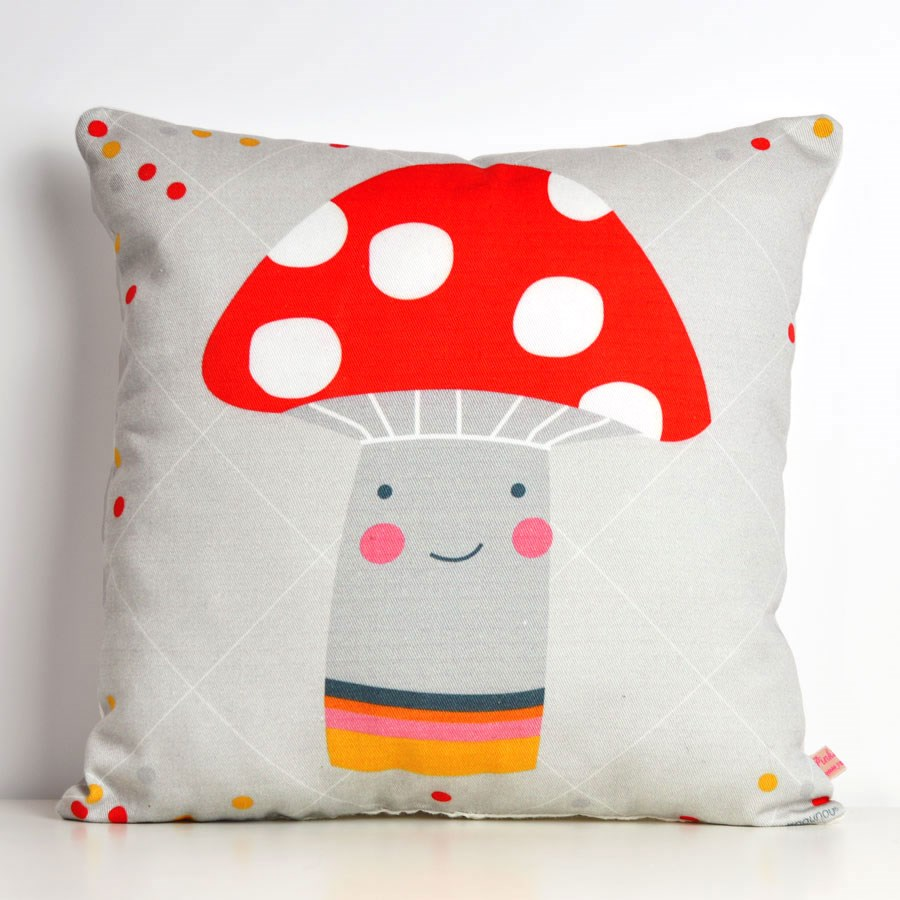 decorative throw pillow for kids room with mushroom