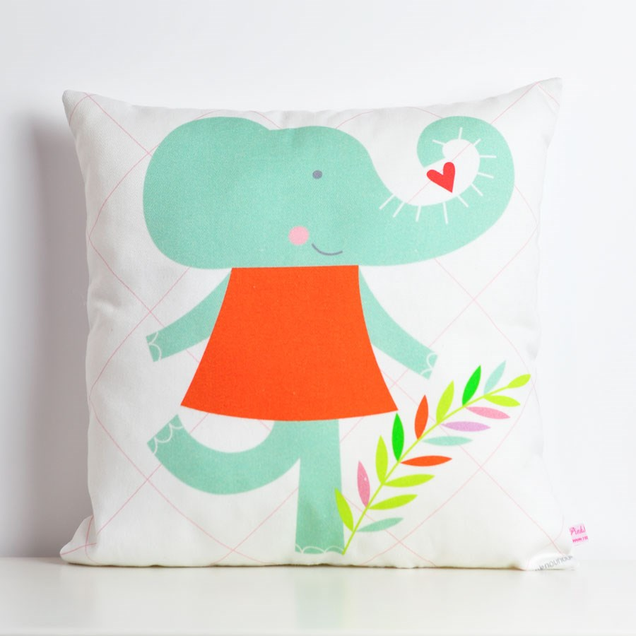 decorative throw pillow for kids room with elephant girl