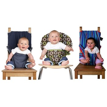Totseat Chair Harness in Denim, Blue Stripe and Chocolate Chip