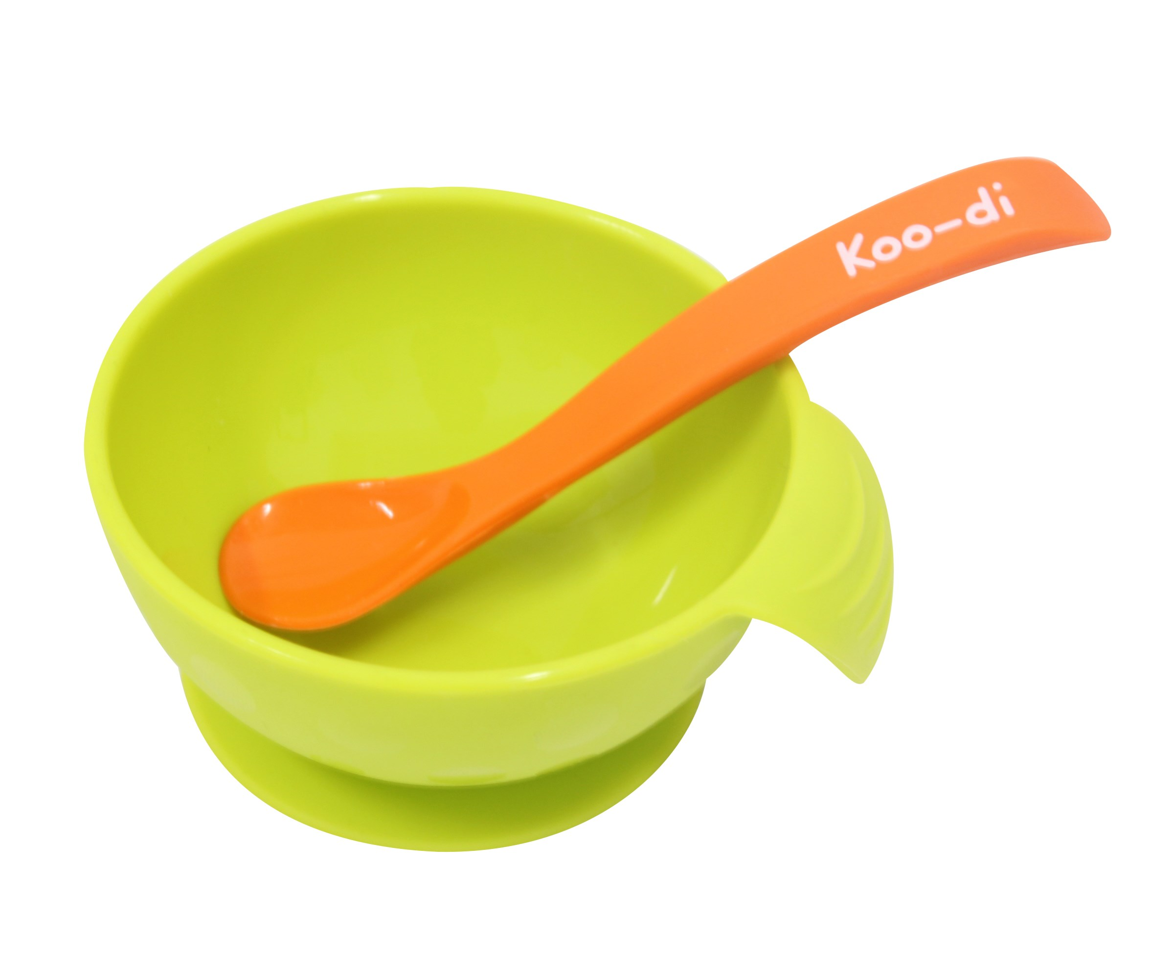 Koo-di Feed Me Silicone Bowl and Spoon, Lime and Orange