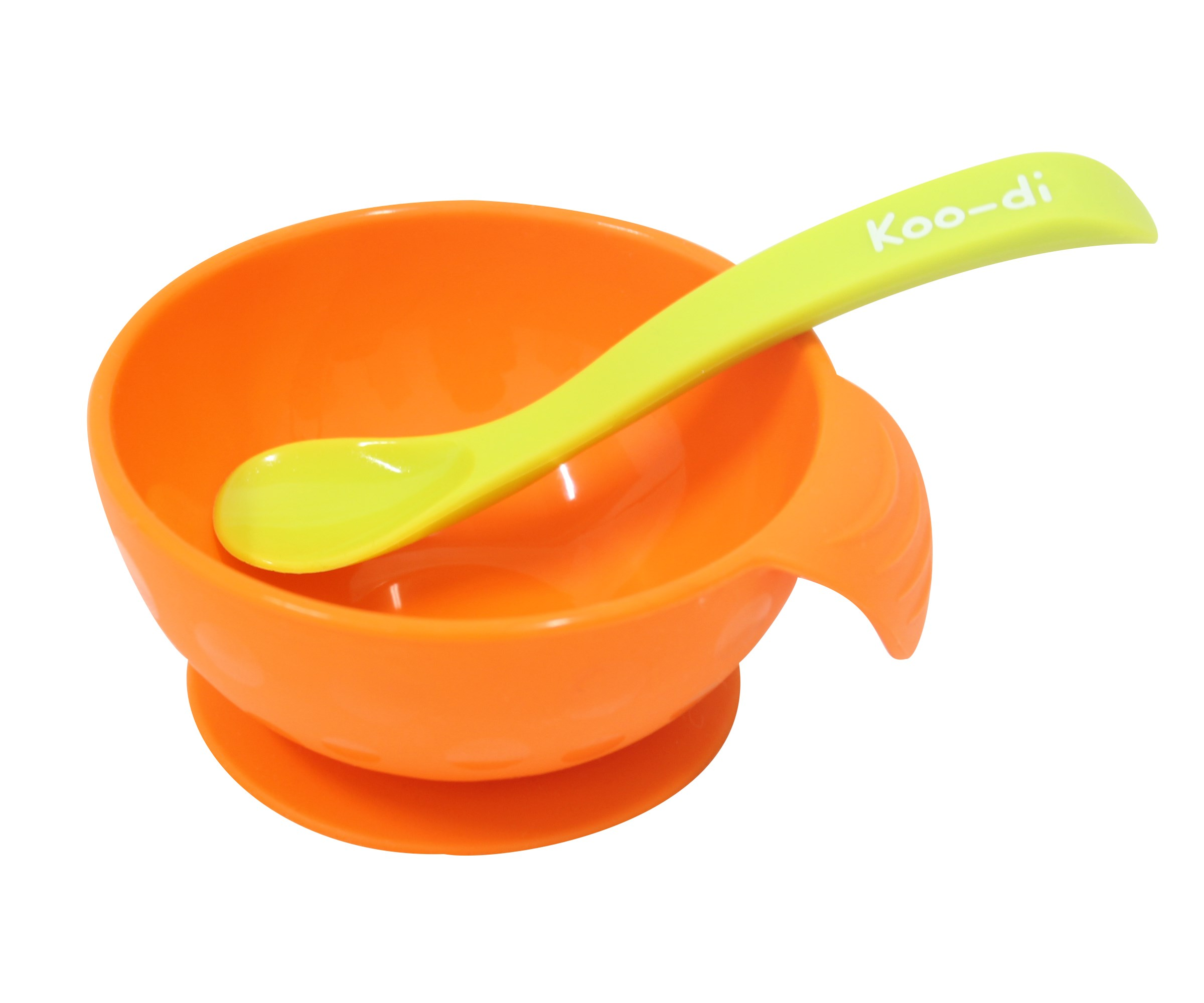 Koo-di Feed Me Silicone Bowl and Spoon, Orange and Lime